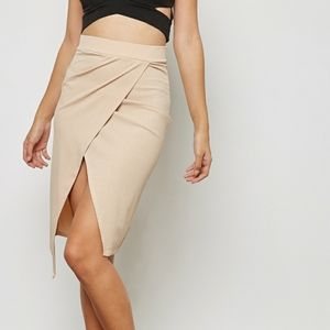 Missguided Cream Ribbed Faux Wrap Skirt